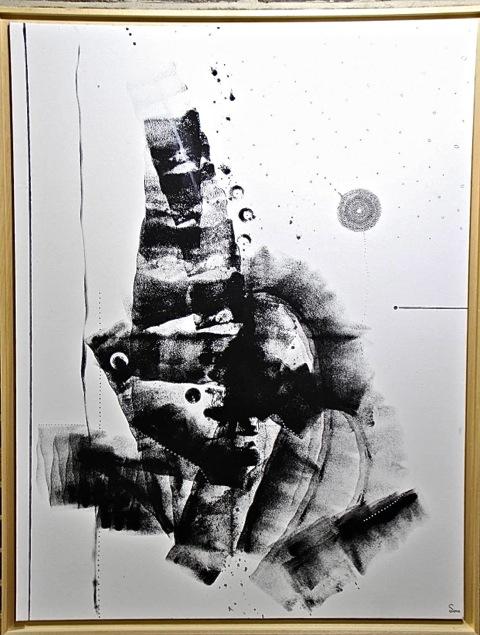 Cosmos, Toile 50F, Encre Et Acrylique